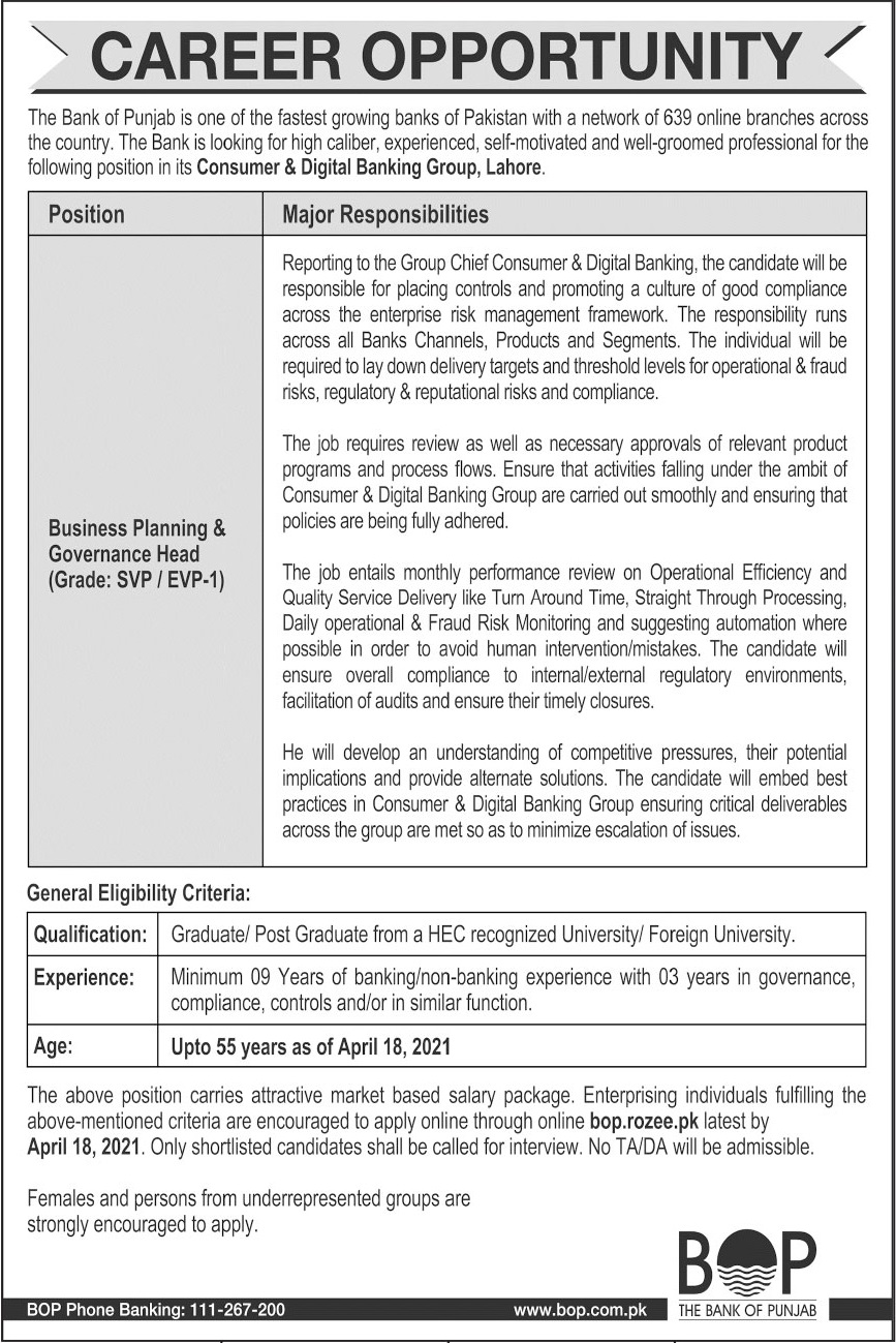 Jobs in Consumer & Digital Banking Group BOP Lahore 2021
