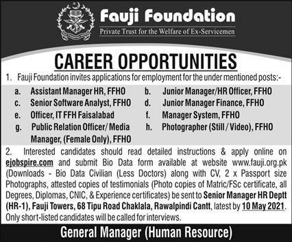 Jobs in Fauji Foundation in Rawalpindi Cantt 2021