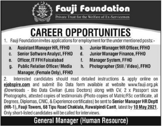 Jobs in Fauji Foundation Management 2021