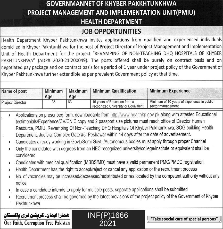 Jobs in Health Department For Project Director In Peshawar KPK 2021
