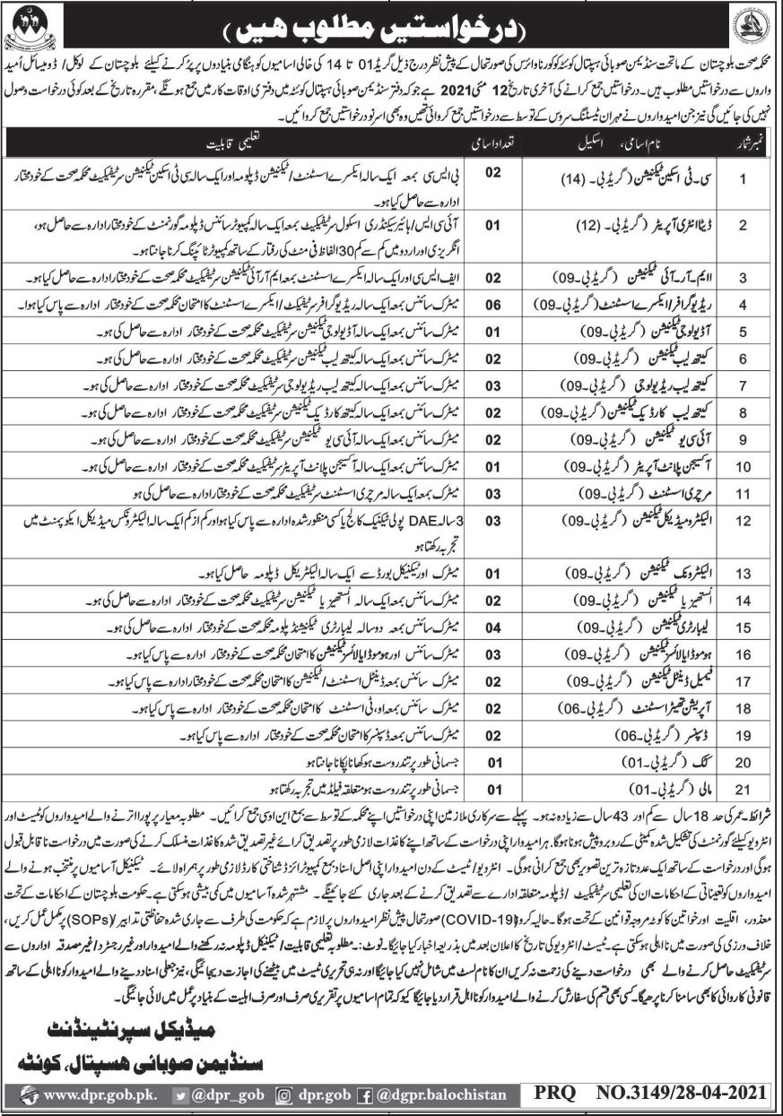 Jobs in Health Department in Quetta Balochistan 2021