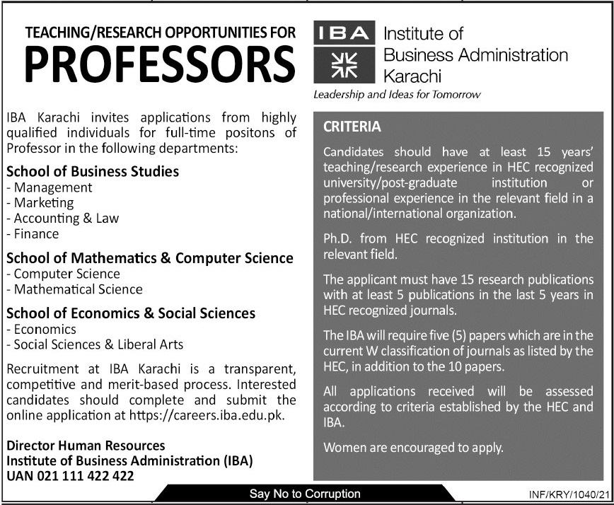 Jobs in Institute of Business Administration IBA for Teaching 2021