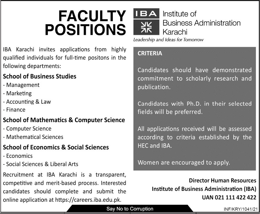 Jobs in Institute of Business Administration IBA 2021