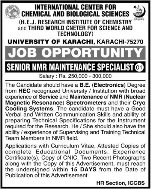 Jobs in International Center For Chemical & Biological Sciences in Karachi 2021