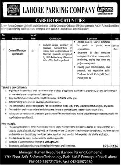 Jobs in Lahore Parking Company Limited For General Manager Operations 2021