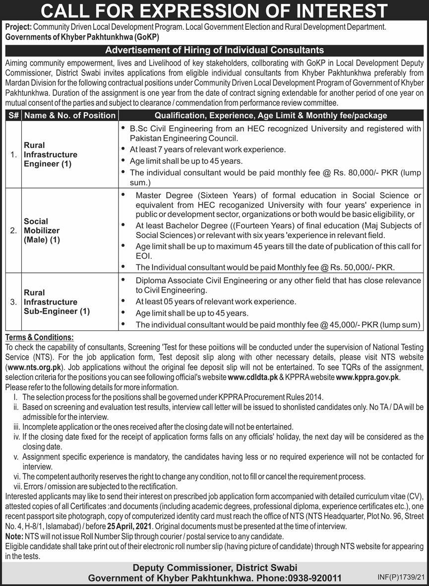 Jobs in Local Government Elections and Rural Development Department in Swabi KPK via NTS 2021