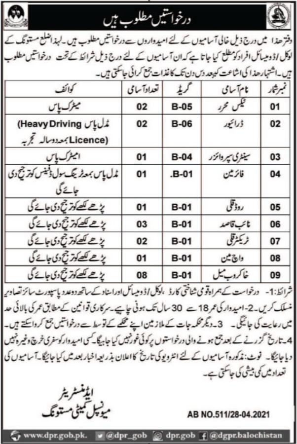 Jobs in Municipal Committee Office in Mastung Balochistan 2021