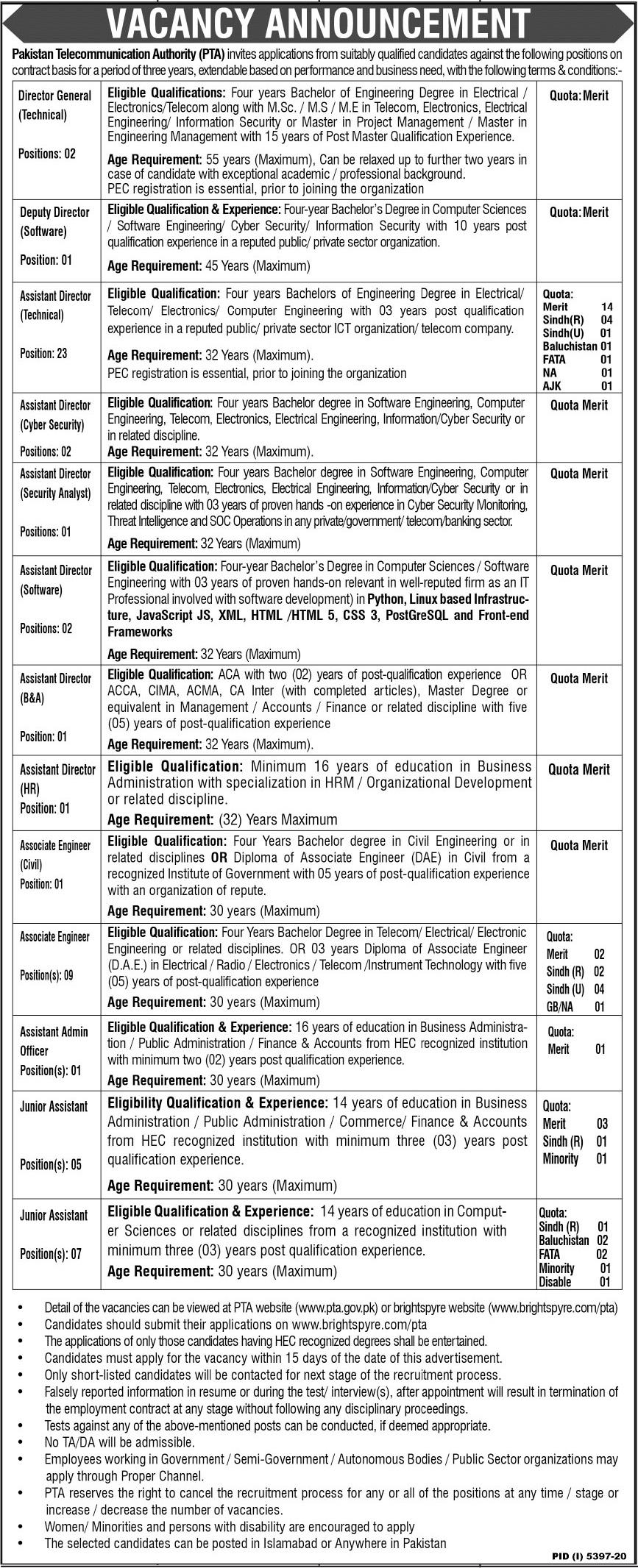 Jobs in Pakistan Telecommunication Authority PTA 2021