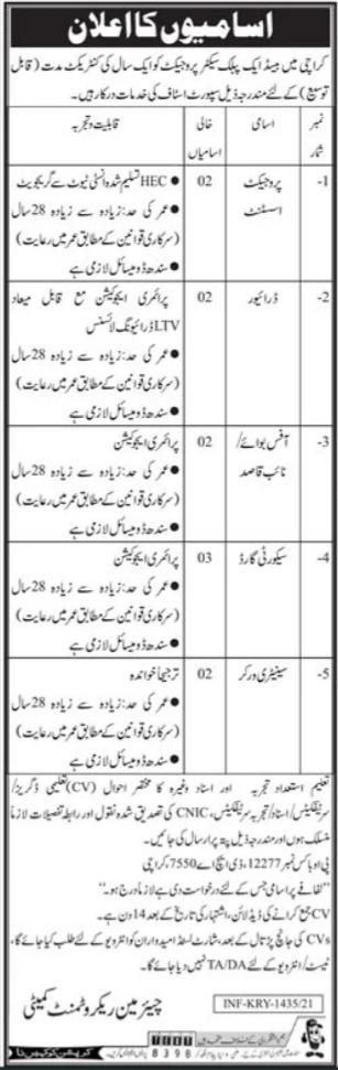 Jobs in Public Sector Organization in Karachi 2021