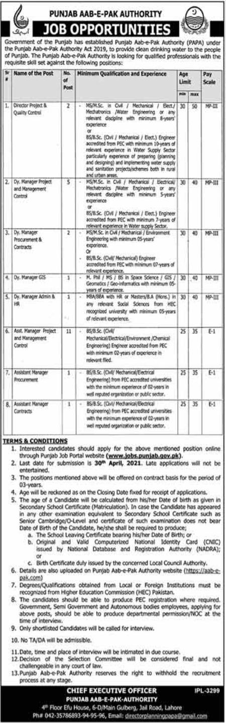 Jobs in Punjab Aab-e-Pak Authority PAPA Lahore 2021
