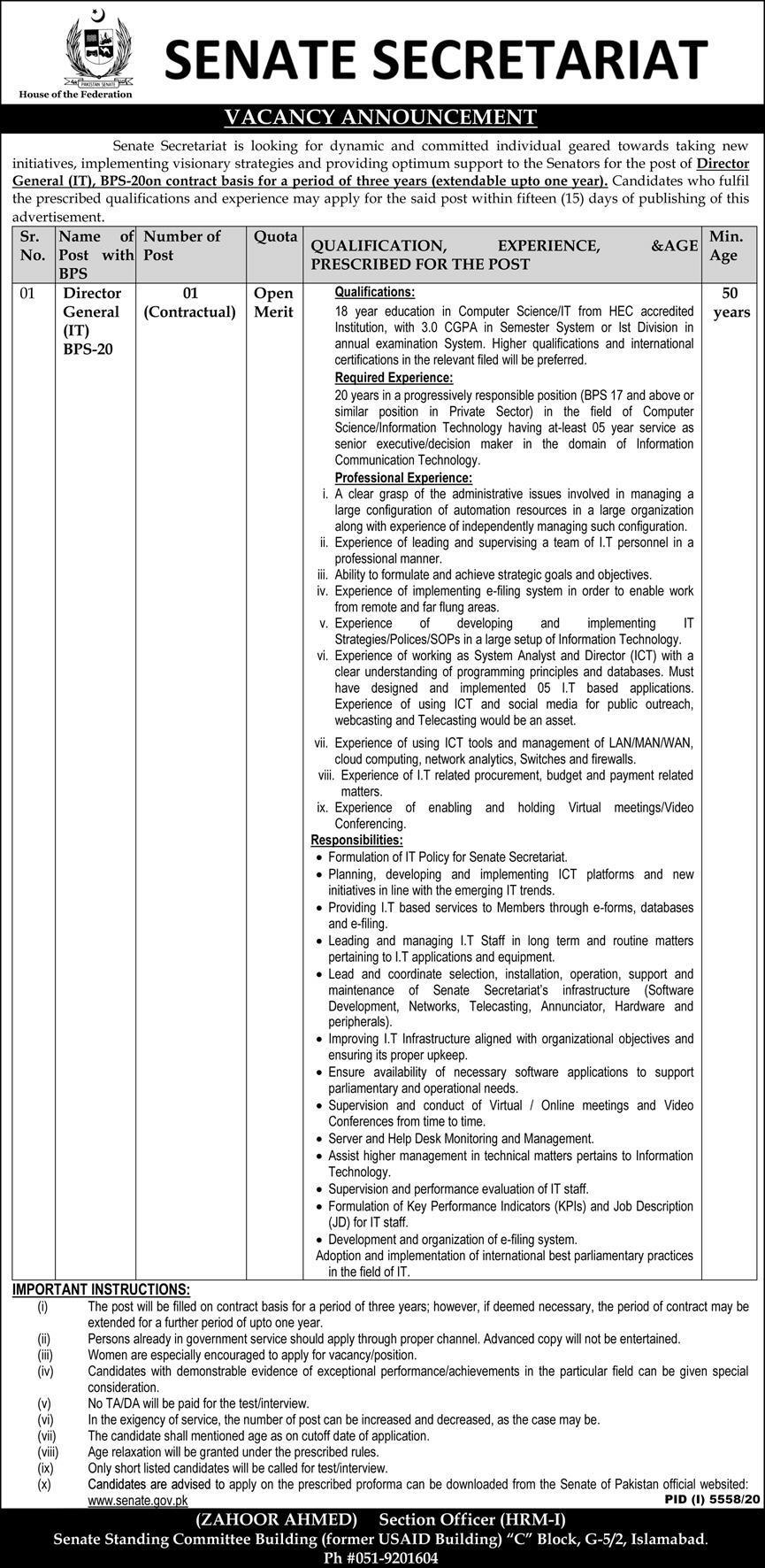Jobs in Senate Secretariat For Director General IT in Islamabad 2021