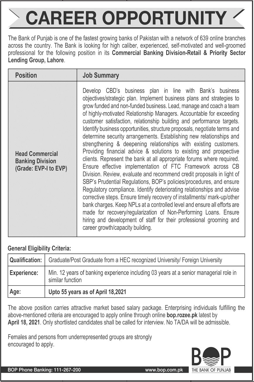 Jobs in The Bank of Punjab BOP For Lahore 2021