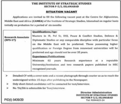 Jobs in The Institute of Strategic Studies in Islamabad 2021