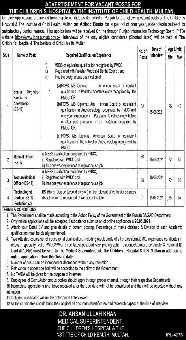 Jobs in Children Hospital & Institute of Child Health in Multan 2021