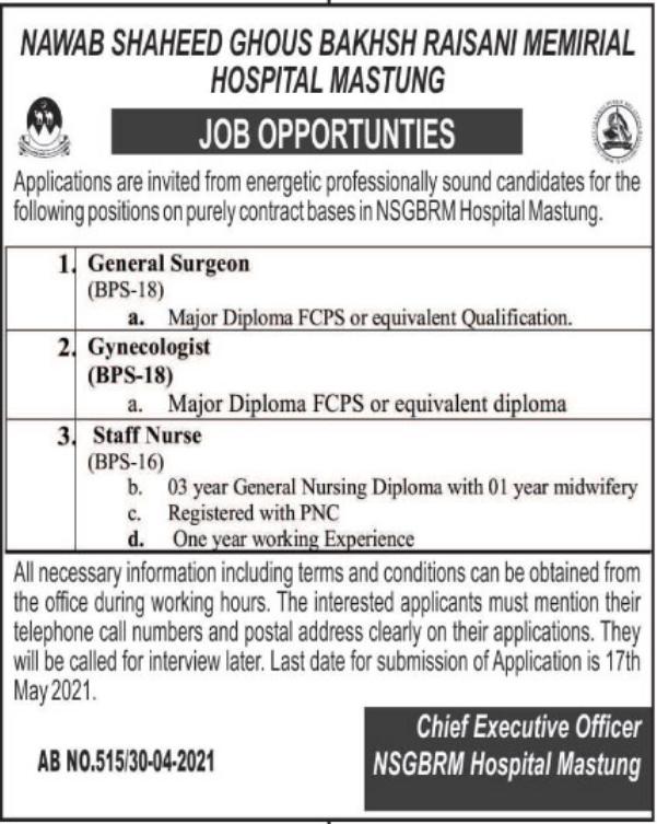 Jobs in Nawab Shaheed Ghous Bakhsh Raisani Memorial Hospital Mastung 2021