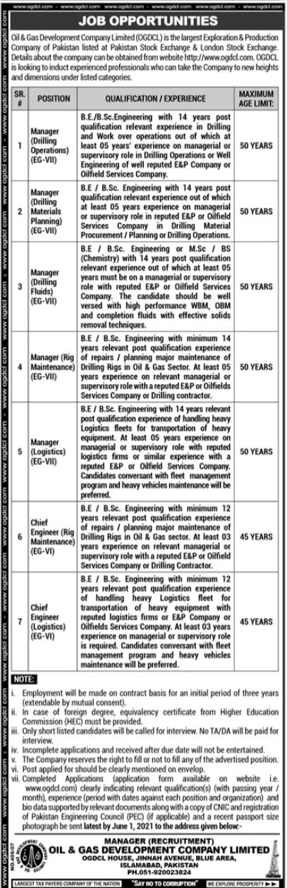 Jobs in Oil & Gas Development Company Limited OGDCL 2021