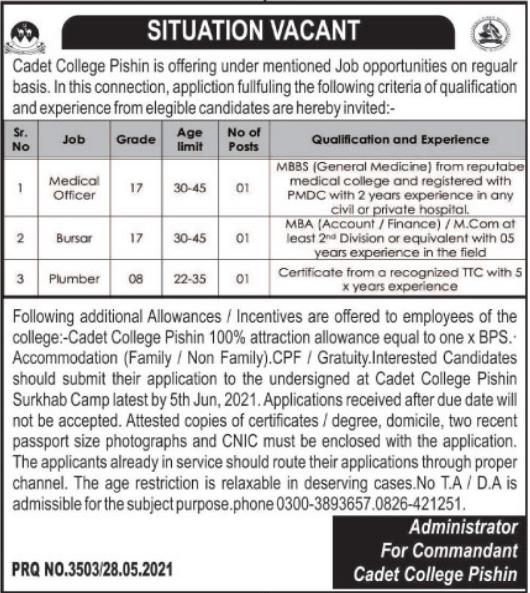 Jobs in Pak Army Cadet College in Pishin Balochistan 2021
