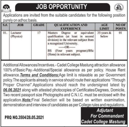 Jobs in Pakistan Army Cadet College in Mastung Balochistan 2021