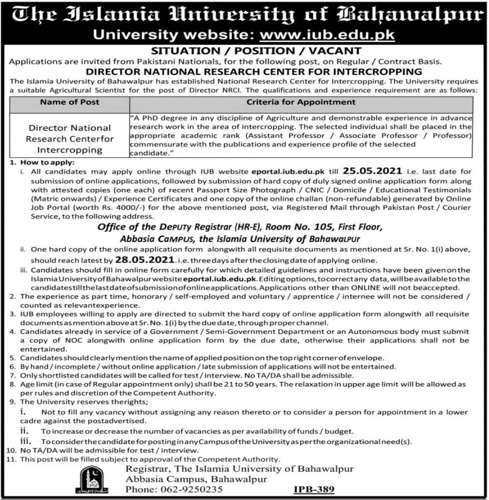Jobs in The Islamia University of Bahawalpur 2021