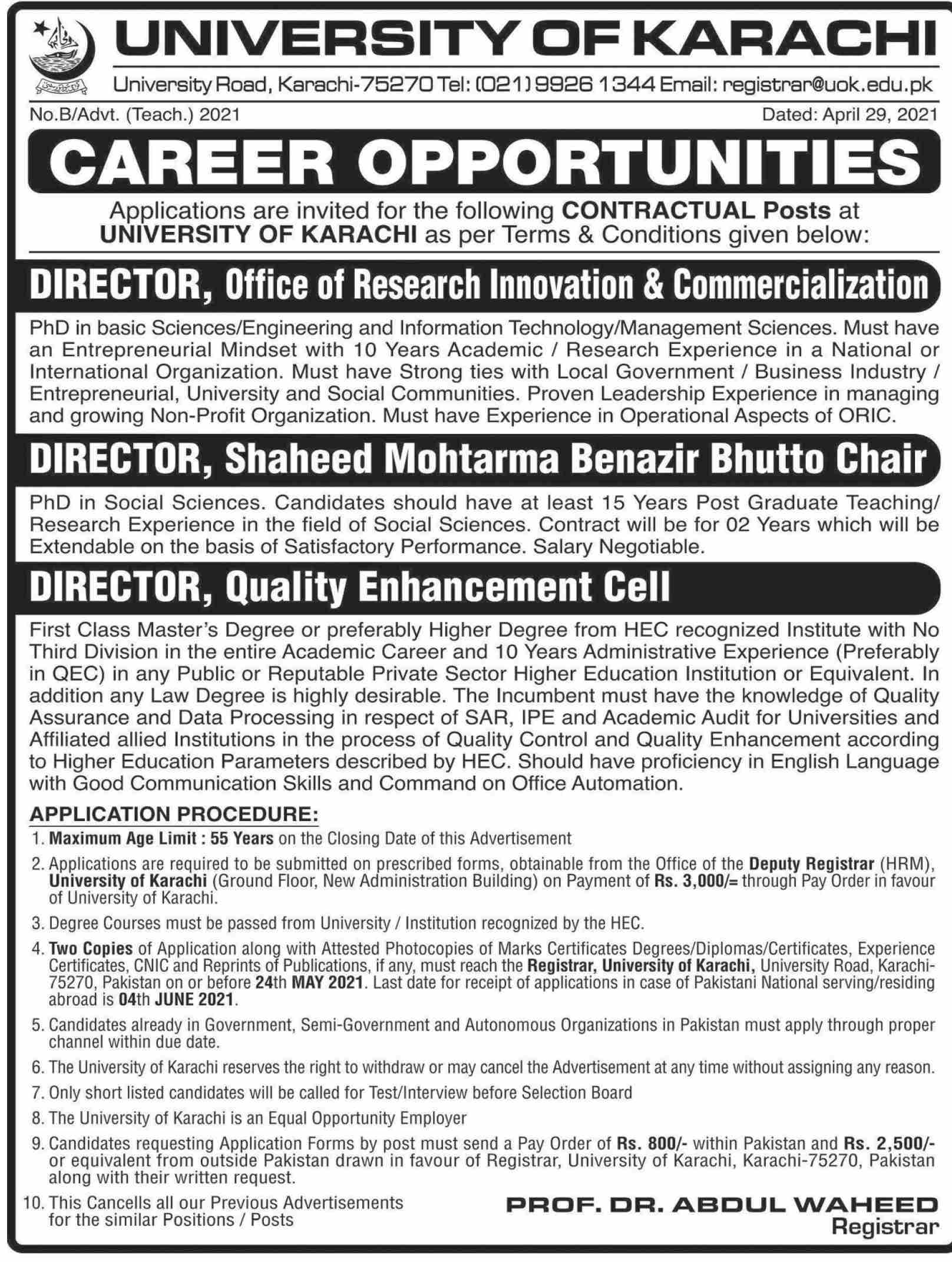 Jobs in University of Karachi For Directors in Karachi 2021