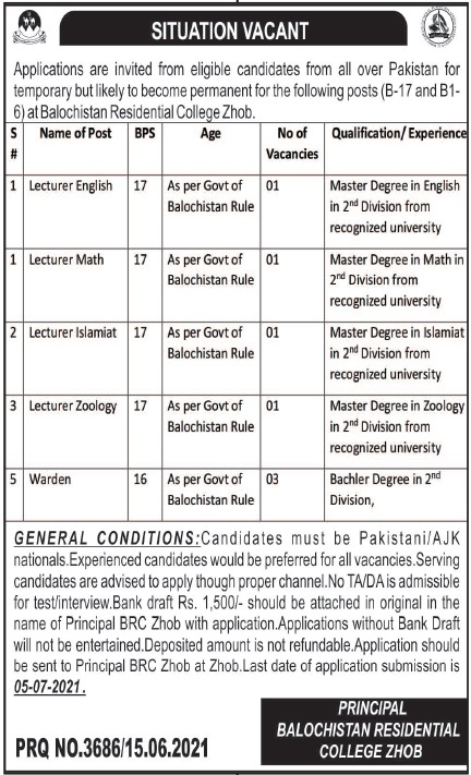 Jobs in Balochistan Residential College in Zhob Balochistan 2021