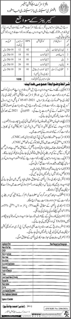 Jobs in District Education Office For Non Technical Staff in Jamshoro 2021