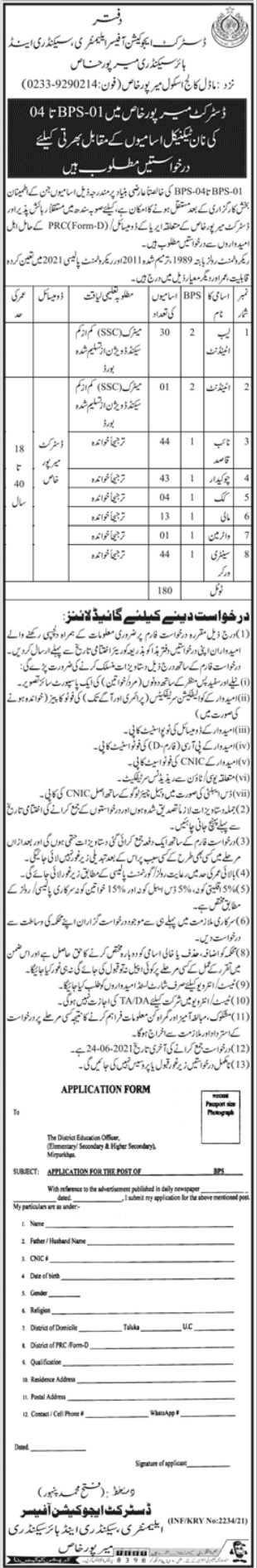 Jobs in District Education Office For Non Technical Staff in Mirpur Khas 2021