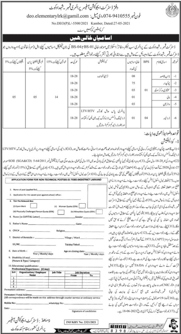 Jobs in District Education Officer Primary, Kimber Shahdadkot 2021