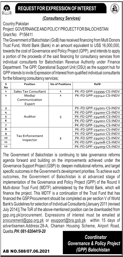 Jobs in Governance & Policy Project For Consultants 2021