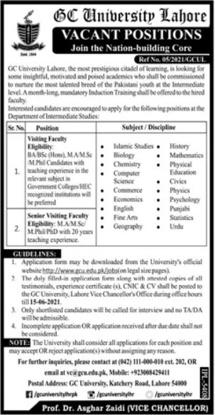 Jobs in Government College GC University in Lahore 2021