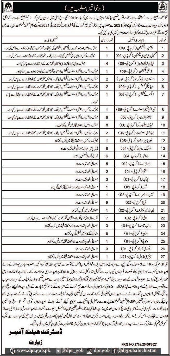 Health Department Jobs 2021 For Medical Staff in Ziarat Balochistan