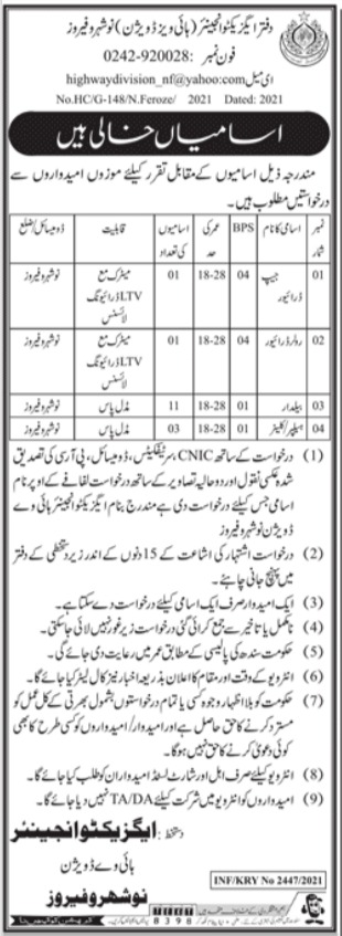 Jobs in Highways Division For Miscellaneous Staff in Naushahro Feroze 2021