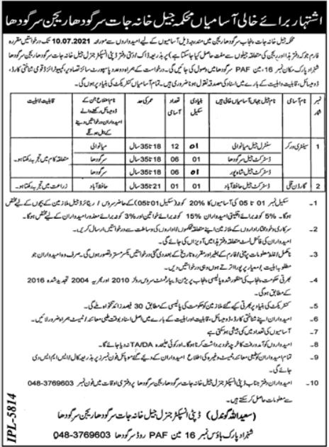 Jobs in Jail Department For Non Technical Staff in Sargodha Region 2021