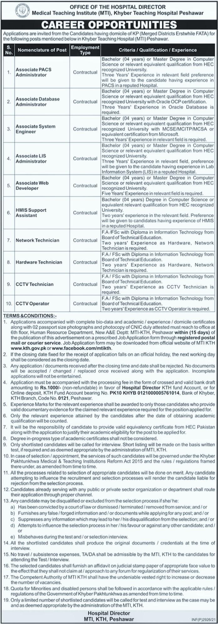 Jobs in Khyber Teaching Hospital Peshawar KPK 2021