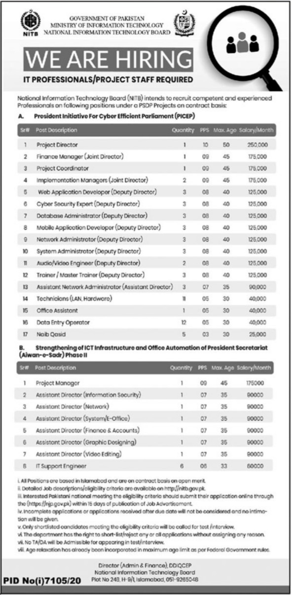 National Information Technology Board NITB Jobs 2021