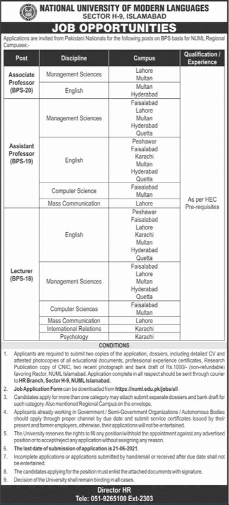 Jobs in National University of Modern Languages NUML Islamabad 2021