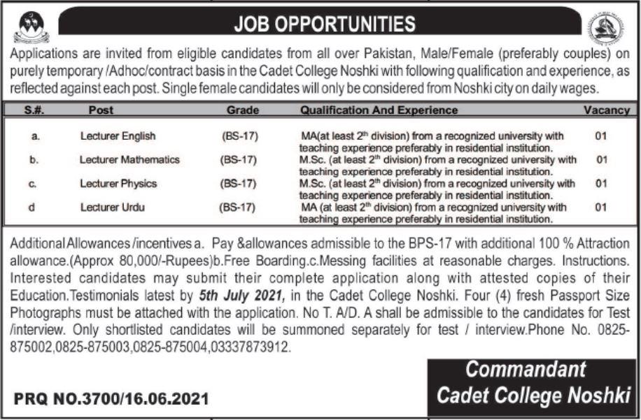 Jobs in Pak Army Cadet College Noshki For Teaching Staff 2021