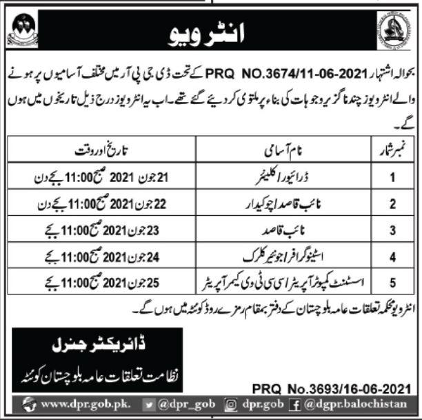 Jobs in Public Relations Department in Quetta Balochistan 2021