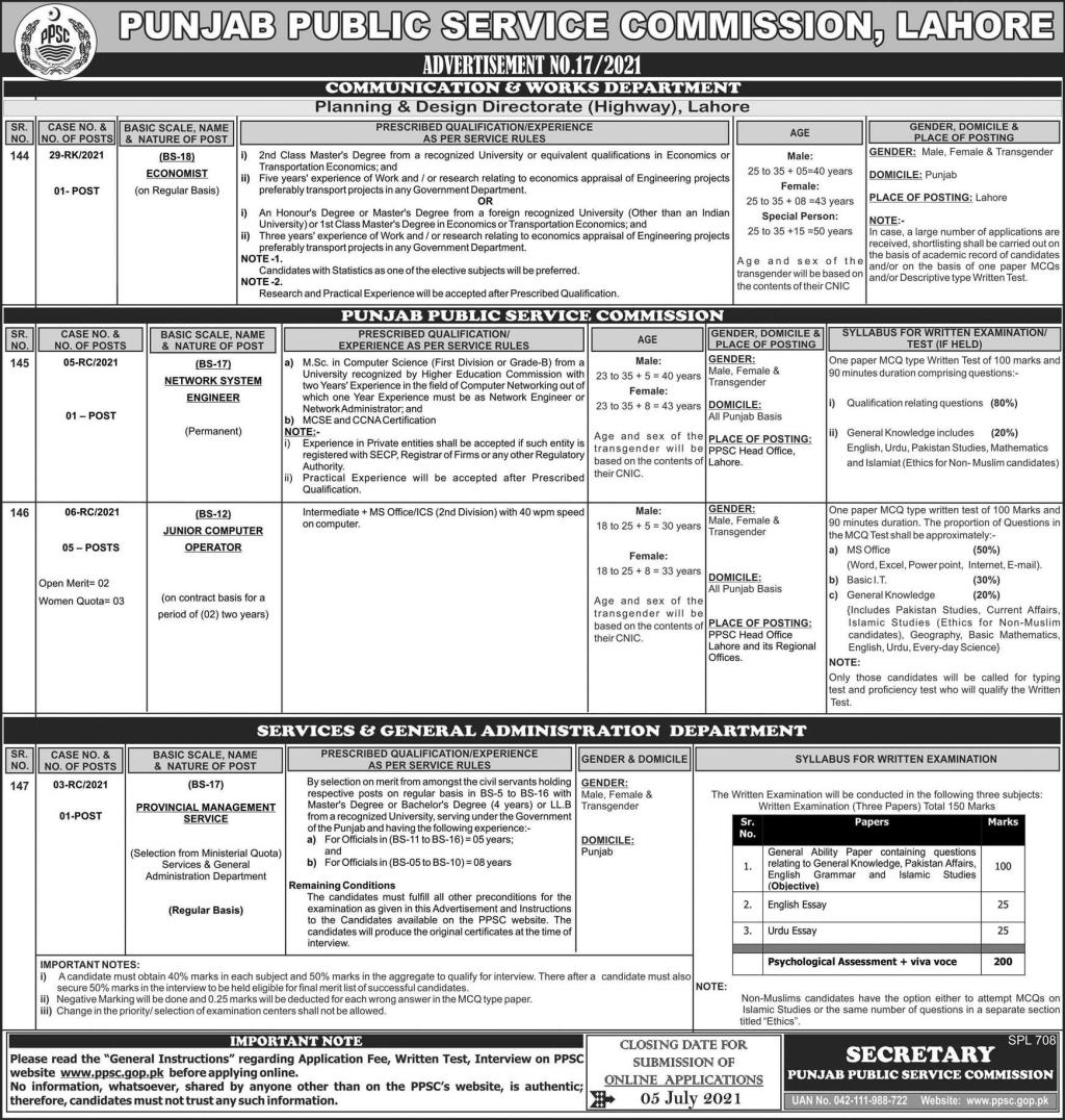 Jobs in Punjab Public Service Commission PPSC in Lahore 2021