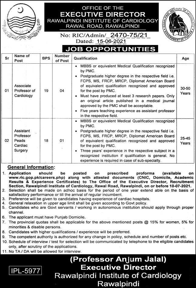 Jobs in Rawalpindi Institute of Cardiology in Rawalpindi 2021