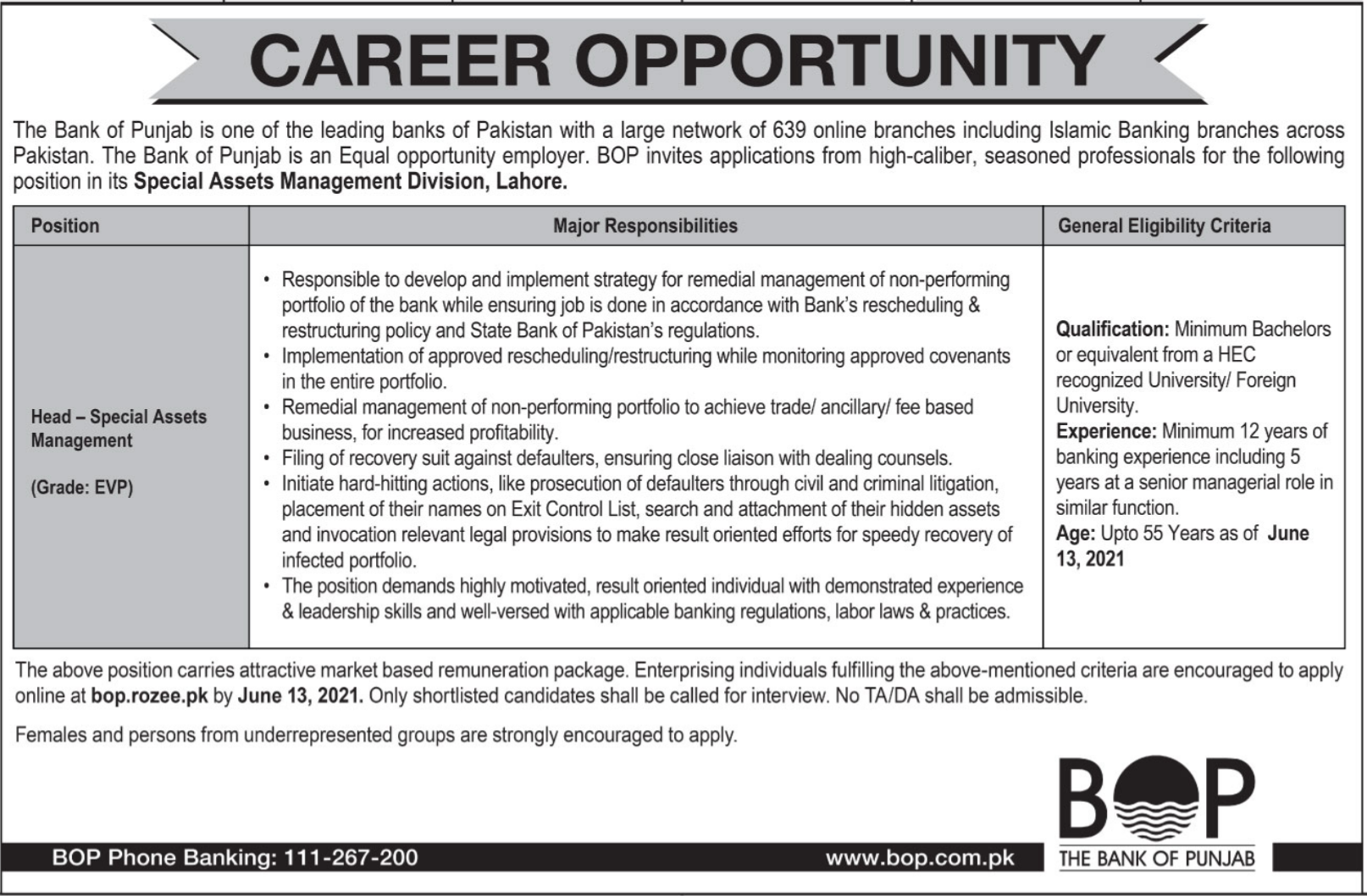 Jobs in The Bank of Punjab BoP 2021