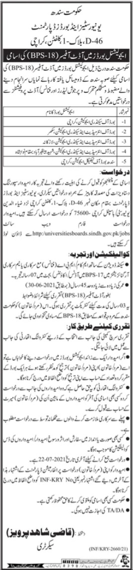 Universities & Boards Department Jobs 2021 For Audit Officers