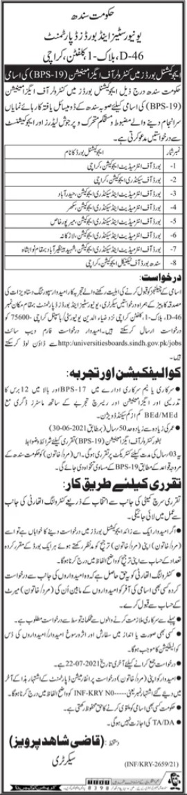 Universities & Boards Department Jobs 2021 For Controller of Examinations