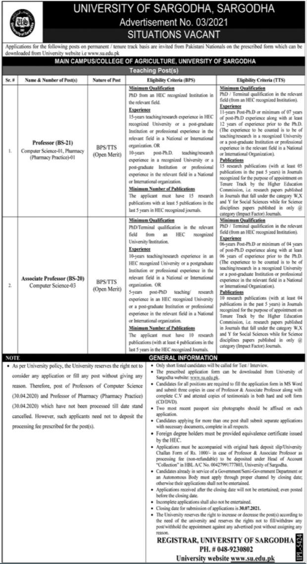 Jobs in University of Sargodha Faculty Staff 2021