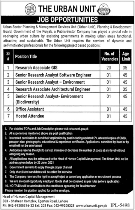 Jobs in Urban Sector Planning & Management Services Unit in Lahore 2021