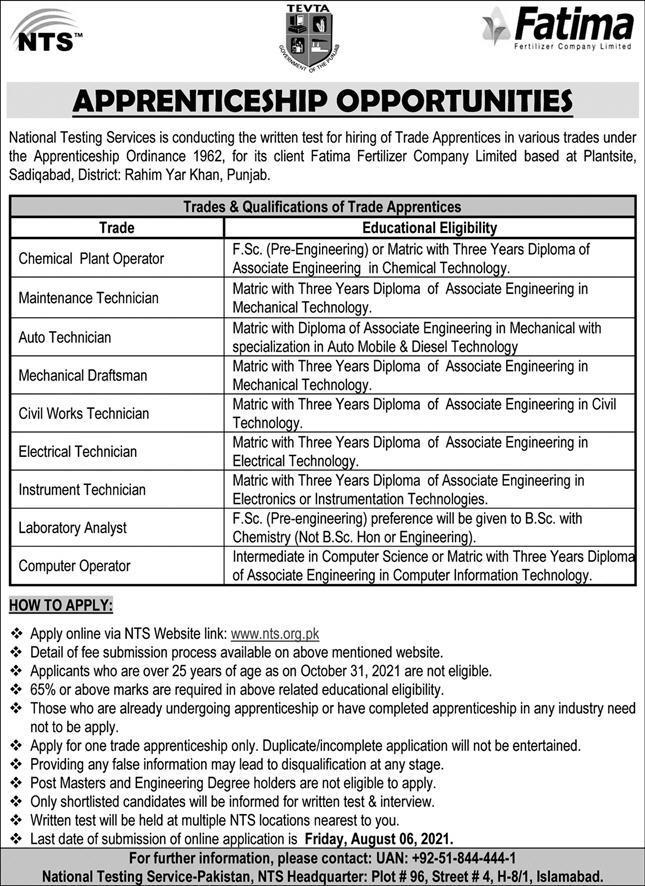 Fatima Fertilizer Company Limited Jobs 2021