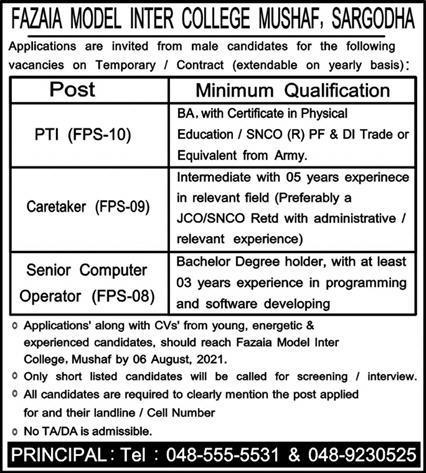 Fazaia Model Inter College Mushaf Sargodha Jobs 2021