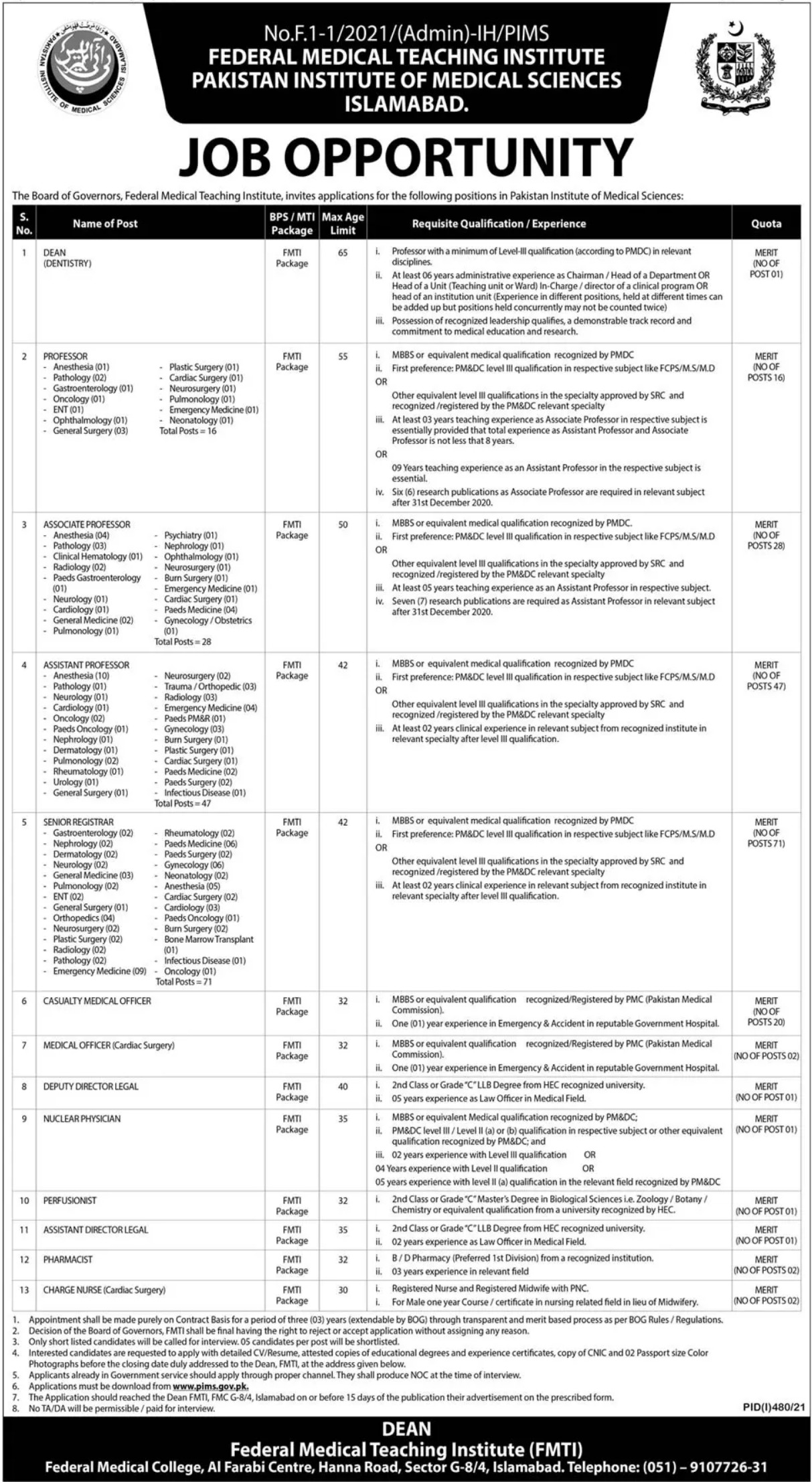 Federal Medical Teaching Institute FMTI Jobs 2021 For Medical Staff In Islamabad