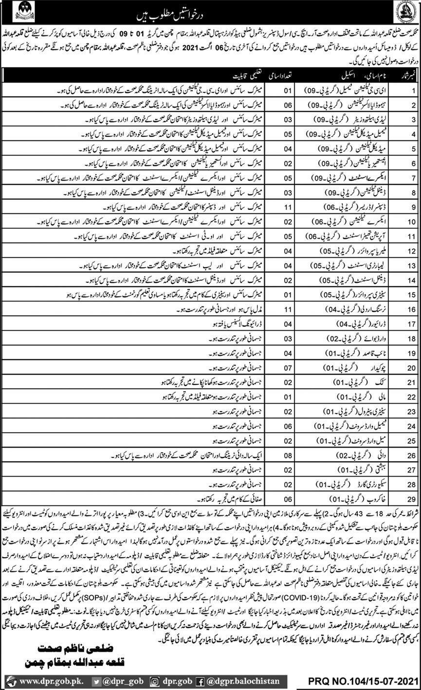 Health Department Jobs 2021 In Chaman Balochistan