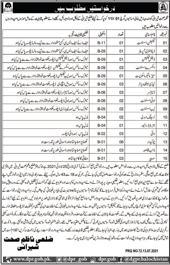 Health Department Jobs 2021 In Sherani Balochistan